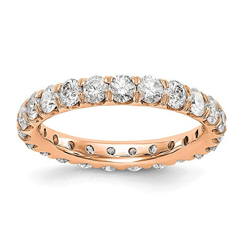 Anillo de boda de oro rosa de 14 quilates con diamante cultivado en laboratorio SI1/SI2, G-H Eternity
