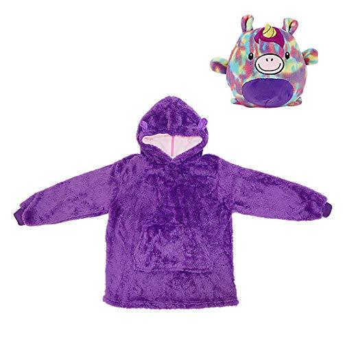Sudadera con capucha para niños con diseño de animales, cómoda sudadera, almohada y sudaderas, adecuada para bebés de más de 8 años de edad (morado)