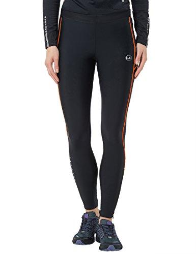 Ultrasport Panta jogging lunghi per donna con effetto compressivo e funzione Quick Dry, Nero/Arancione, M