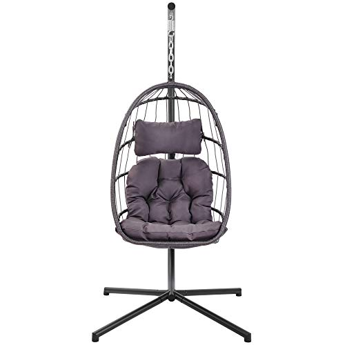 N+A in Door Outdoor Patio Wicker Hanging Chair Swing Chair Patio Egg Chair UV Resistant Dark Grey Cushion Aluminum Frame 7 to 10 Days for delivery