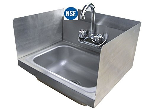 "Stainless Steel Hand Sink with Side Splash - NSF - Commercial Equipment 12"" X 12"""