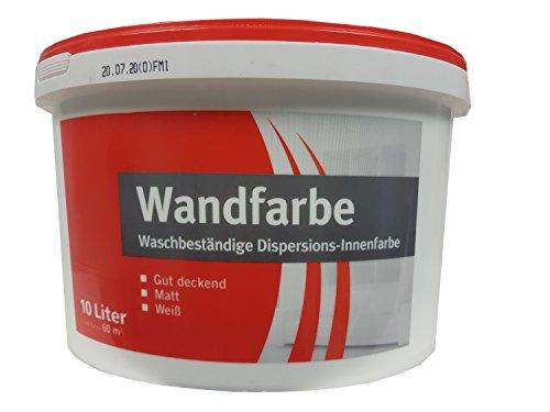 Meffert Wandfarbe Waschbeständige Dispersions-Innenfarbe, Weiß, Matt, 10 L