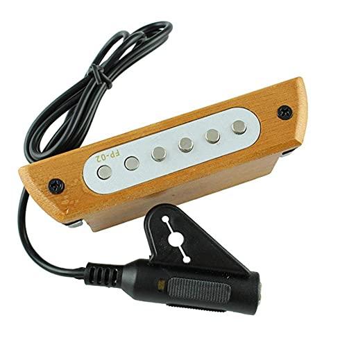 Grabación de guitarra Madera de caoba Ojo de sonido pasivo profesional Pastilla de guitarra Convertidor eléctrico acústico para guitarras acústicas Preamplificador con sonido Violín clásico, ukelele,