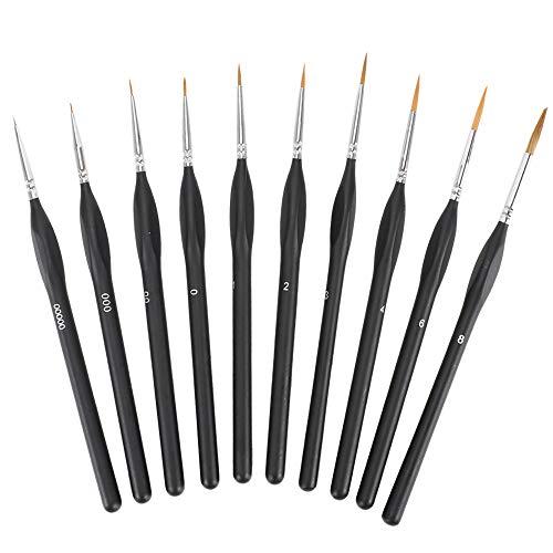 Pulluo 10pcs Pinsel Nagel Pinselset Feiner Pinsel Modell Acrylpinsel Aquarell Zeichenpinsel Professionelle Künstlerpinsel für Acryl Aquarell Nagel Öl Miniatur Modell Nagel Gesichtsbemalung Malpinsel