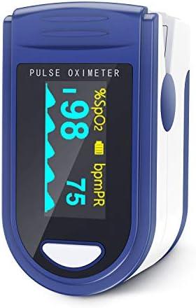 JUMPER 500C Oxímetro de Pulso de Dedo Medidor de Pulso Portátil SpO2 (Saturación de Oxígeno en Sangre) y Monitor de Frecuencia Cardíaca (Azul)