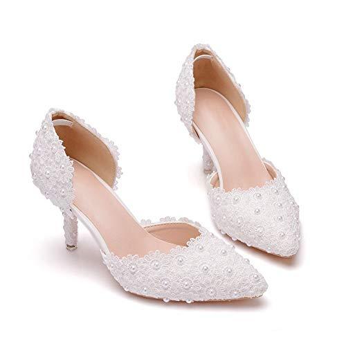 Ouumeis Zapatos De Novia para Mujer 7.5CM Sandalias De Boda para Mujer...