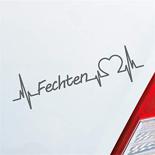 Hellweg Druckerei Auto Aufkleber Fechten Herzschlag Kampfsport Wettkampf Sport Sticker Liebe Grau