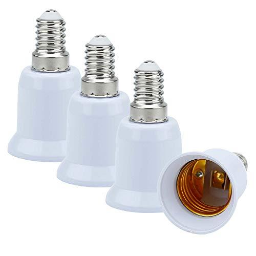 Intirilife 4X Adaptador de Base de lámpara E14 a E27 en Blanco - Socket Adapter Convertidor de 4 Piezas para Portador de lámpara para Bombillas, LED, halógeno, lámpara de Ahorro de energía