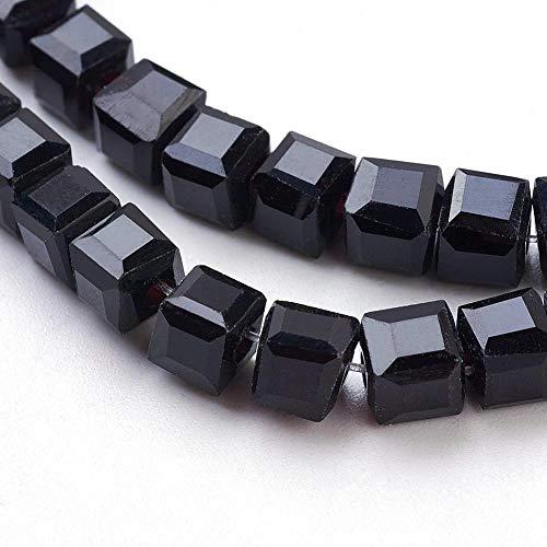 Cuentas de cristal de 15 unidades de 8 mm con forma de cubo de Bohemia Checa, perlas con agujero para enhebrar (negro)
