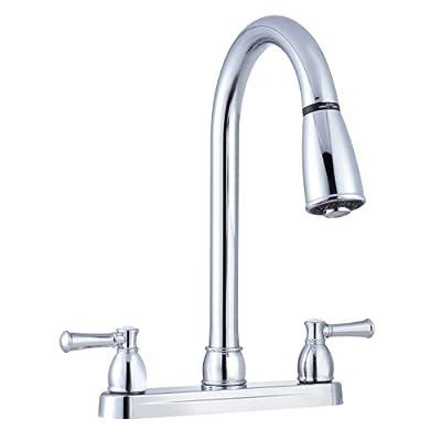 Dura Faucet DF-PK350LCP RV Non-Metallic Dual-Lever Pull-Down Kitchen Faucet (Chrome)