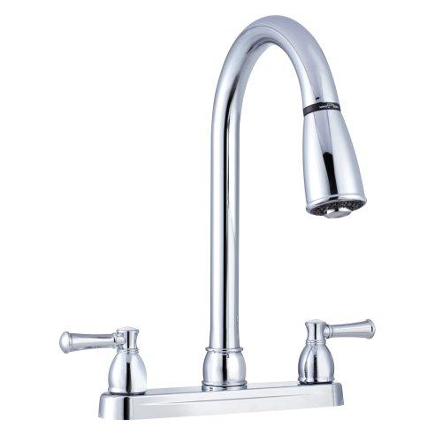 Dura Faucet DF-PK350LCP RV Non-Metallic Dual-Lever Pull-Down Kitchen Sink Faucet (Chrome)