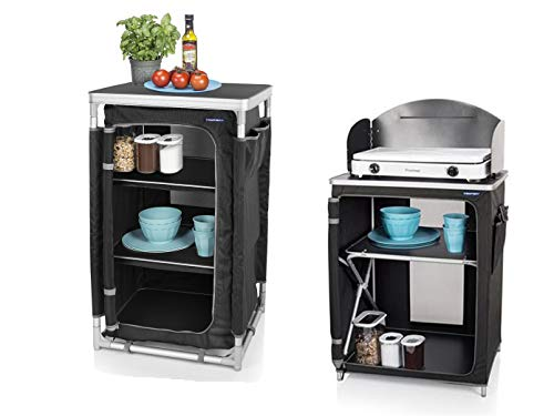 2er Set - robuste, stabile Campingküche mit Windschutz faltbar + wetterfester Campingschrank klappbar