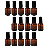 FRCOLOR Botellas de Esmalte de Uñas Vacías 15 Botellas de Vidrio Cilíndricas de 10Ml con Tapa para Pinceles Contenedor de Esmalte de Uñas DIY para Muestras de Arte de Uñas