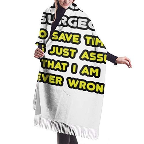 Bufanda cálida para cirujana ortopédica para mujer, bufanda grande, manta larga, chal con borla