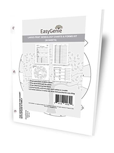 EASYGENIE Large Print Two-Sided Family Group Sheets for Ancestry Archival-Quality Genealogy Forms 30 Sheets
