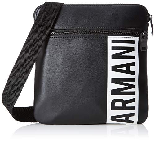 Armani Exchange - Small Flat Crossbody Bag, Bolso bandolera Hombre, Negro (Black),...