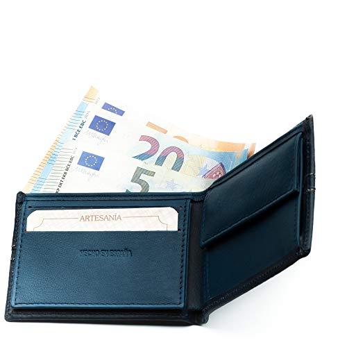 Cartera Hombre Piel Bandera Legado Vox II Azul con Monedero para Monedas, Billetera Capacidad Varios Billetes Fabricado en España, de Cuero. (Horizontal)