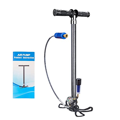 SPRITECH PCP Hand Pump, 4 Stage 4500Psi/30Mpa High Pressure Air Rifle Stirrup Pump, with Double Oil-Moisture Filters and Stainless Steel Body for PCP, Paintball Air Guns and HPA Tanks