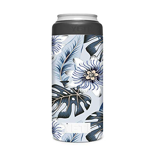 KRAFT'D Wrap Compatible with Yeti (R) Rambler 12 OZ Colster Slim Can Insulator - Decal Vinyl Only - Stylize Your Can Cooler for your Thin Can Beverages - Blue Monstera