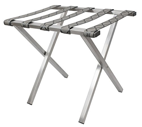 Wholesale Hotel Products Brushed Stainless Steel Luggage Rack, Tapestry Straps, Square Tubing, Gray