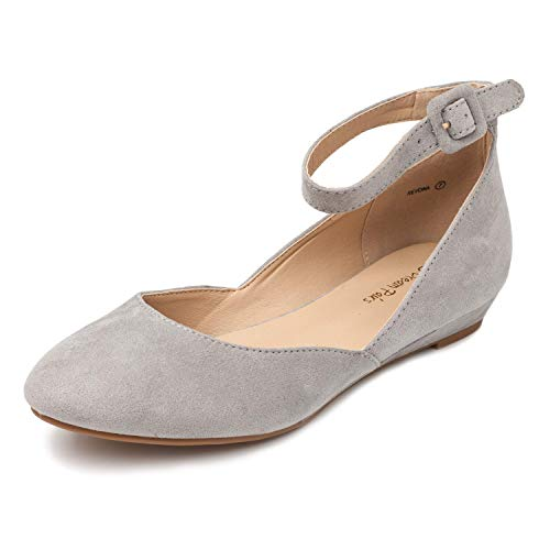 DREAM PAIRS Women's Revona Grey Suede Low Wedge Ankle Strap Flats Shoes - 8 B(M) US