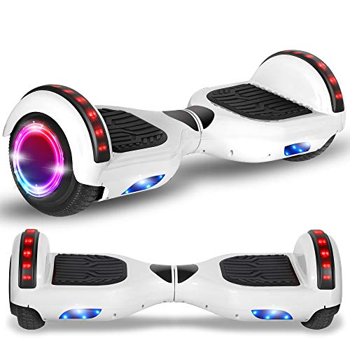 Beston Sports Newest Generation Electric Hoverboard Dual Motors Two Wheels Hoover Board Smart self Balancing Scooter with Built in Speaker LED Lights for Adults Kids Gift (Classic White)
