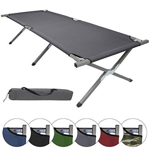BB Sport Feldbett Klappbett 210 x 72 x 45 cm Stabiles Campingbett bis 150 kg Belastbar Tragbar Tasche Liege Reise Bequem, Farbe:Grey