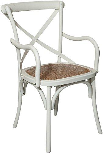 Biscottini Stuhl aus Holz, für Esstisch, Restaurant, Pizzeria, Küche, Bauernhof, Kunst, Antikweiß, L50 x B43 x H89 cm