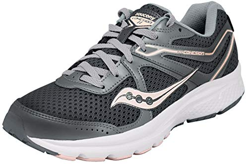 Saucony Women's Cohesion 11 Sneaker, Charcoal/Peach, 9 M US
