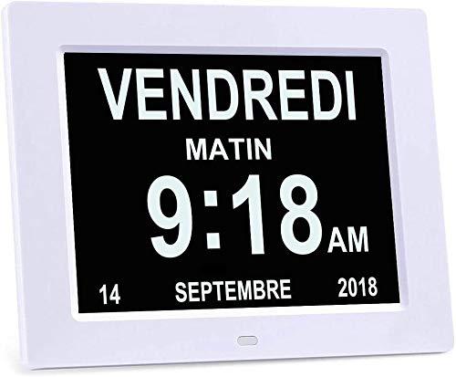 8 'LCD Relógio Calendário Digital com Data, Relógio Calendário com Data, Dia e Hora |  Relógio de Alzheimer |  Relógio para idosos, é para pais ...