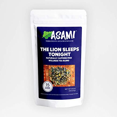 Asami The Lion Sleeps Tonight Tea | Chamomile Loose Leaf Tea | 100% Natural Gourmet Herbal Tea | 15 Loose Leaf Pyramid Tea Bags | Caffeine Free | Sleep Tea | Lavender Lemon Teas | Valerian Root Tea
