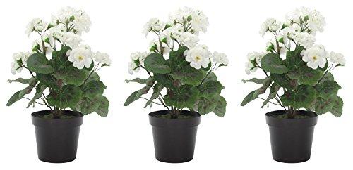 DARO DEKO Kunst-Blume Geranie stehend 3 Stück weiß