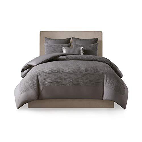 N Natori Hanae Cotton Blend Yarn Dyed 3 Piece Duvet Cover Set Grey King