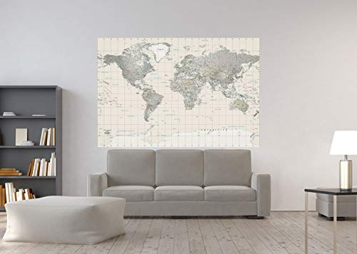 Academia Maps - World Map Wall Mural - Neutral Tones Political Map - Premium Self-Adhesive Fabric