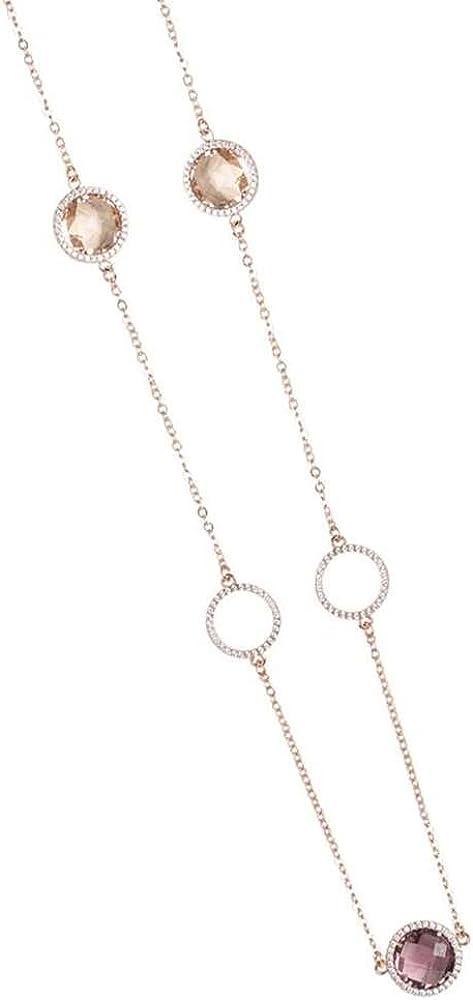 Boccadamo,collana monofilo in bronzo placcato oro rosa con cerchi in zirconi alternati a cristalli briolette XGR265 C