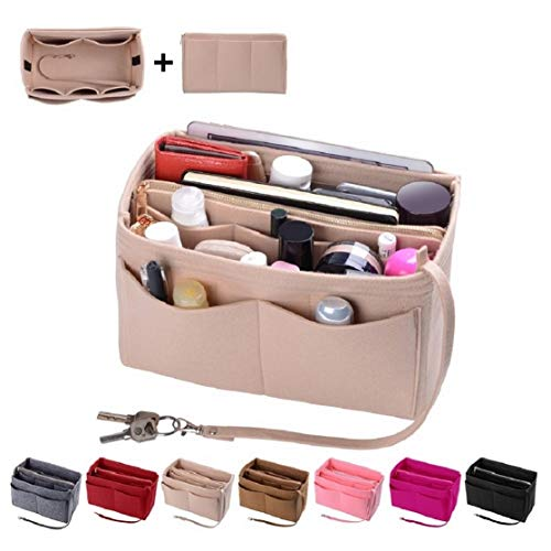 NEW MATERIAL & ZIPPER DESIGN: Felt Purse Organizer with High quality and New Materials are made of Sturdy ,Soft and pliable, Lightweight Felt fabric.The Zipper of the organizer are made of Metal, Durable, Fashion and smoother SINGLY DETACHABLE WALLET...