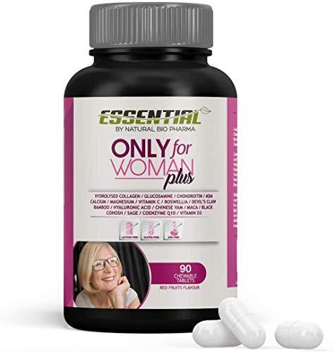 ONLY FOR WOMAN PLUS - Colágeno Hidrolizado Puro + Magnesio + Ácido Hialurónico + Condroitina + Coenzima Q10 + Vitamina D3 + Calcio + Glucosamina + Harpagofito – Producto del Año - 90 comp.
