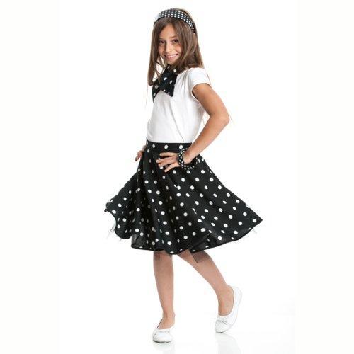 Kostümplanet® Rockn Roll Rock für Kinder schwarz mit passendem Halstuch Kinder Rock n Roll Kinderkostüm