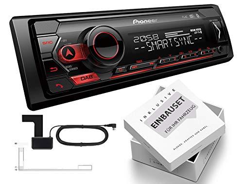 Pioneer MVH-S420DAB 1-DIN autoradio incl. DAB-antenne met Bluetooth USB geschikt voor Mercedes E-Klasse W211, S211 2002-2009 zwart