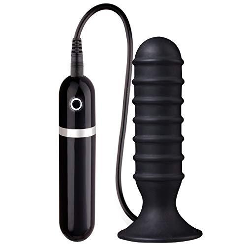 Plug Anal com Ventosa e 10 Vibrações, Nanma, Preto, 13cm