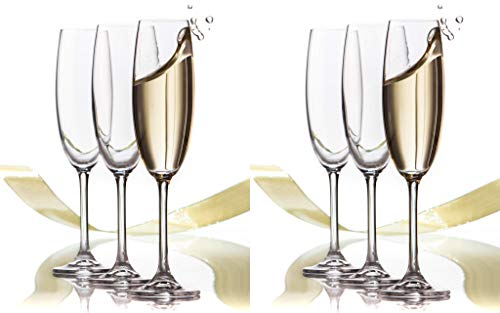 6 Pack - Set Of Classic-Elegant Stylish Flute Champagne/Wine Glasses Long Stem 6.75 oz. each. Ideal For Holiday, Valentine's Day, Birthday, Anniversary , Wedding Gifts, or New Year's Celebrations (6)