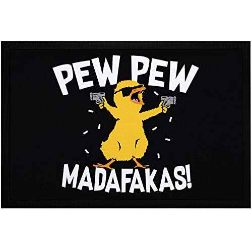 MoonWorks® Fußmatte mit Spruch Pew Pew Madafakas Crazy Chick Küken Meme Trend rutschfest & waschbar schwarz 60x40cm