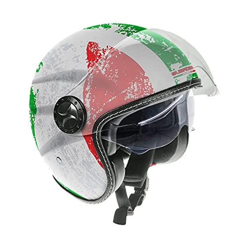 Guardian 0321 Casco da Moto Jet - Doppia visiera. Visiera Occhiale interno extra fumè a scomparsa. Cinturino a sgancio rapido- Flag Italy, Taglia M