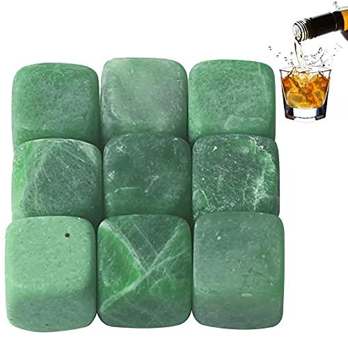 kiptyg Whisky Piedras, Piedras de Whisky, cubos de Hielo de Whisky Reutilizables, Con bolsa de almacenamiento, apto para whisky, brandy, vino y diversas bebidas frías (verde, granito, 9 piezas)