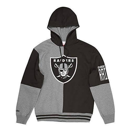 Mitchell & Ness M&N NFL Split Colour Hoody Pittsburgh Steelers,M,Oakland Raiders, Grey/Black