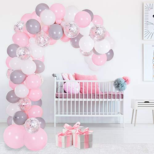 Kit Arco y Guirnalda de Globos | Globos color Rosa, Blanco, Gris y Plateado | Ata Globos, Cinta para Globos y Gotitas Adhesivas | Para Baby Showers, Cumpleaños o Bautizos para Mujeres y Niñas
