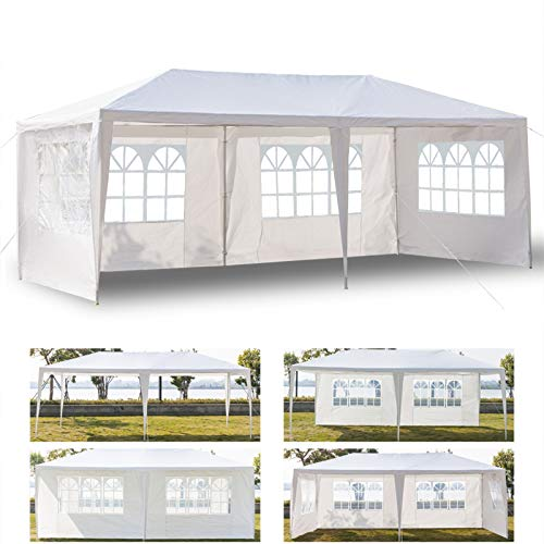 10' x 20' Outdoor Canopy Tent White Waterproof Camping Gazebo Storage Shelter Pavilion Cater Heavy Duty Tent with 4 Removable Sidewalls for Party Wedding Events Beach Backyard BBQ