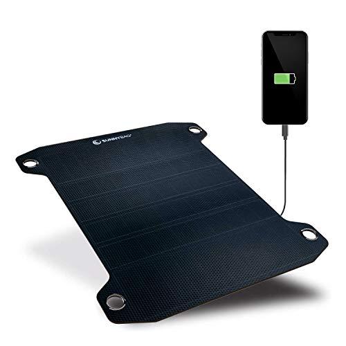 SUNNYBAG Leaf PRO | Award-Sieger: Das weltweit stärkste Solar-Panel mit über 7,5 Watt Leistung | Laden mit Solar-Energie | USB-Anschluss | Outdoor-Ladegerät | 24,5x28,5x0,25 cm