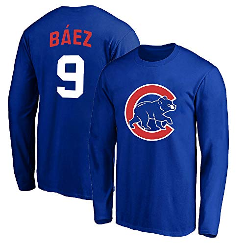 Outerstuff MLB Youth 8-20 Team Color Alternate Primary Logo Name and Number Long Sleeve Player T-Shirt (Javier Baez Chicago Cubs Blue, 10-12)