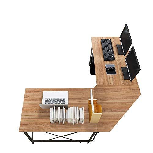 sogesfurniture Escritorio de Computadora en Forma de L, 150cm + 150cm Mesa de Ordenador Mesa de Estudio Estación de Trabajo, Mesa Esquinera para Casa, Oficina, Roble LD-Z01OK-BH
